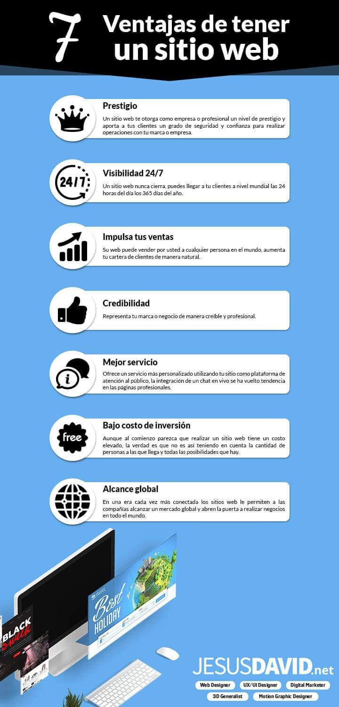 infografía: 7 ventajas de tener un sitio web por JeDavidART